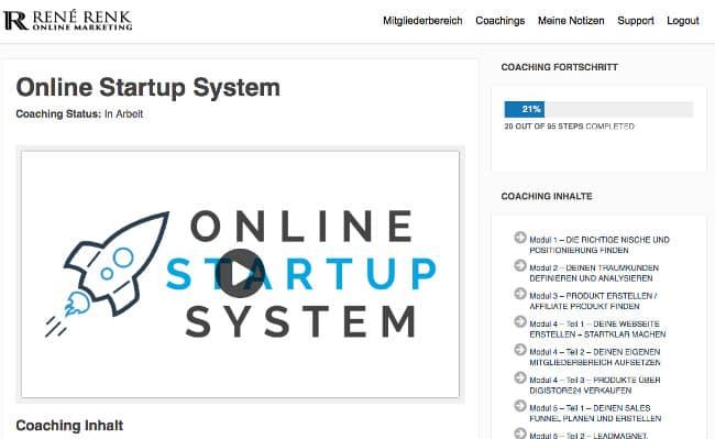 Erfahrungen Online Startup System von Rene Renk