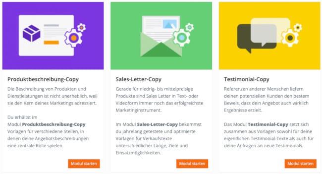 Inhalte Nummer 3 der Werbetexter Software - Click-Copy Erfarhung